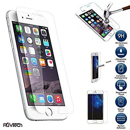 ruvtech iphone6plus hd clear tempered glass screen protector amazoncom tempered glass