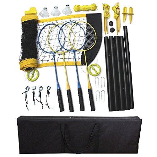Driveway Games Portable Badminton Set 4 Rackets, 3 Birdies & Net Kit