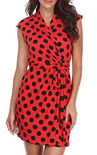 Anienaya Womens Wrap Dress 3/4 Sleeves/Sleeveless Crossover V Neck Polka Dots Tie Waist Above Knee Summer Dresses Red