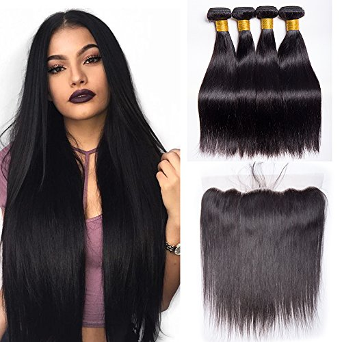 Maxine Hair Straight Hair Bundles with Frontal Closure Brazilian Straight Hair 3 Bundles with 13x4 Free Part Lace Frontal 100% Virgin Human Hair Bundles for Black Women(20 22 24+16inch)