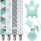 Liname® Pacifier Clip for Boys with BONUS Teething Toy - 4 Pack Gift Packaging - Premium Quality & Unique Design - Pacifier Clips Fit ALL Pacifiers & Soothers - Perfect Baby Gift