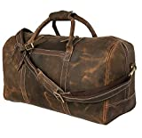 24 Inch Genuine Leather Duffel | Travel Overnight Weekend Leather Bag | Sports Gym Duffel for Men (24 inch)