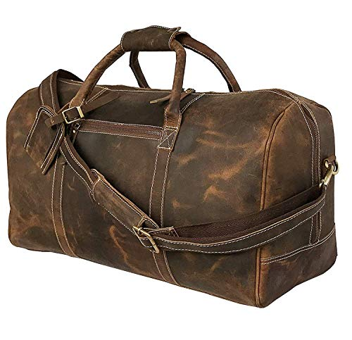 Genuine Leather Duffel | Travel Overnight Weekend Leather Bag | Sports Gym Duffel for Men (24