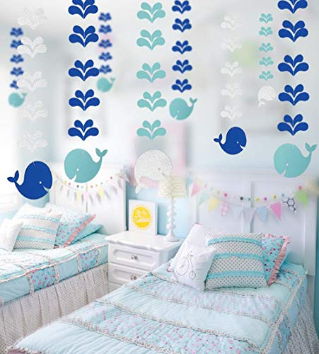 Blue Whale Hanging Paper Decoration (6pcs) - Ocean Theme Hanging Paper Party Streamers for Kids Bedroom Decoration, Ocean Sea Life Ceiling Paper for Baby Shower Party Supplies -