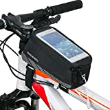 BestFire Cycling Frame Bag Waterproof Bicycle Front Top Tube Bag Bike Handlebar Frame Pannier Pack Touchscreen Bag Phone Storage Bag for Mobile Cell Phone Within 5.5 inch