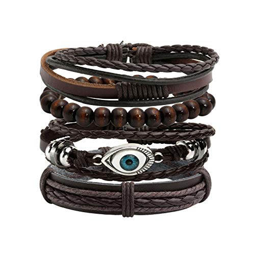 MILAKOO 4Pcs Women Men Black Braided Leather Bracelet with Evil Eye Decor