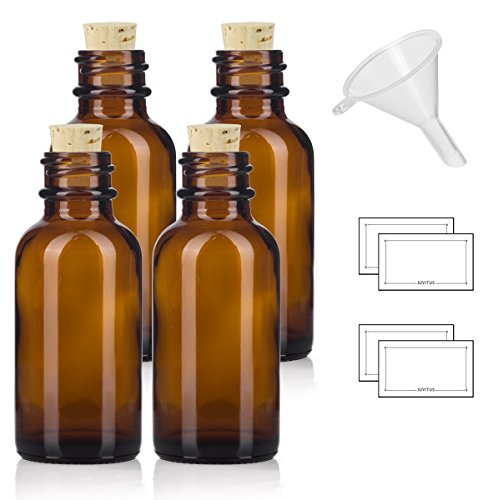 1 oz Amber Glass Boston Round Bottle with Cork Stopper Closure (4 Pack) + Funnel and ()