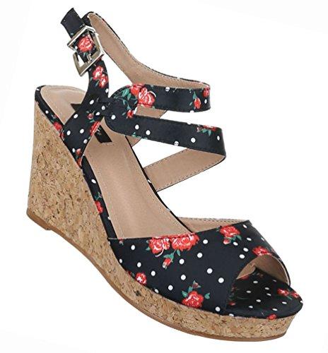 Damen Schuhe Sandaletten Keil Wedge Peep Toe Schwarz Schwarz