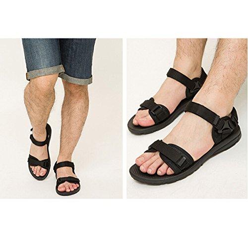 Jazlyn Unisexe Noir Femmes Velcro Slip Sur Caoutchouc Occasionnel Sports De Plage Flip Flops Sandales Pour Couples Black2