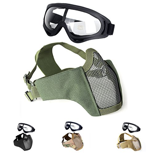Unigear Half Face Lower Mask Foldable Mesh Adjustable Tactical Metal Steel Mask for Airsoft/Hunting/Paintball/Shooting (OD-Green)
