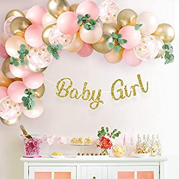 Sweet Baby Co Baby Shower Decorations For Girl With Pink Balloon Arch Garland Kit Baby Girl Banner Decor Eucalyptus Boho Greenery Vine Light Pink