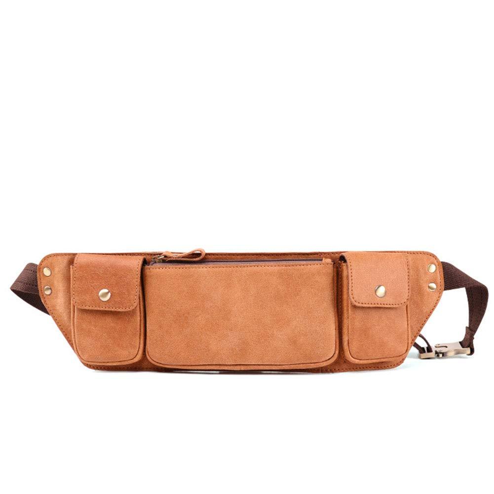 New Retro Men's Chest Bag Leather Multi-Function Crossbody Wallet Phone Bag Waist Bag Zip Pockets Travel Hiking Outdoor Sport Bum Bag (Color : Brown, Size : 11.5CM33CM2CM) HWX
