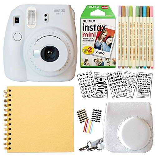 Fujifilm Instax Mini 9 Instant Camera (Smokey White) + Fuji INSTAX Film (20 Sheets) + Bundle with: Groovy Camera Case + Scrapbook Photo Album + Stencils + Metallic Markers + Photo Corners
