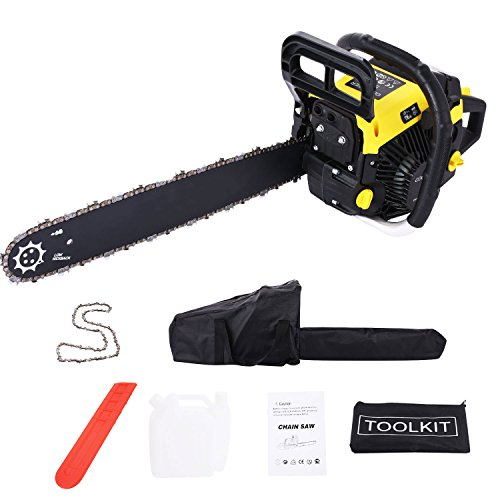 Meditool 20-Inch 58cc 3.4HP 2-Cycle Gas Powered Chain Saw,Gas Chainsaw with Black Carrying Bag