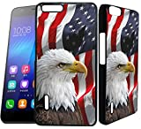 [TeleSkins] - Huawei Honor 6 Plus Designer Plastic Case - Bald Eagle American Flag - Ultra Durable HARD PLASTIC Protective Snap On Back Case / Cover for Huawei Honor 6 Plus.