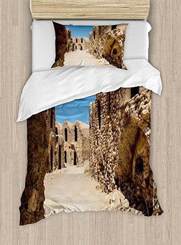 Ambesonne Galaxy Duvet Cover Set Twin Size, One of Abandoned Sets of The Movie in The Desert Phantom Menace Antique Cave Houses, Decorative 2 Piece Bedding Set with 1 Pillow Sham, Brown Blue by Ambesonne
