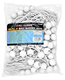 Cal Hawk Tools CTDWB6 Ball Bungee Canopy Tarp Tie Down Cord (100 Pack), 6'', White