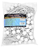 "100 PK 6"" Ball Bungee Canopy Tarp Tie Down Cord White"