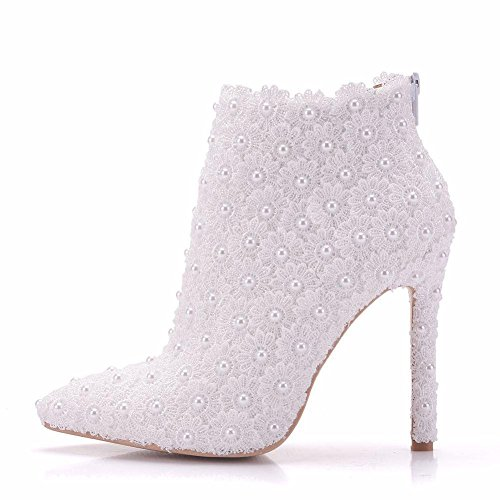 NVXIE Wedding Bridal Shoes Women's Ladies White Boots Dress Pointed High Heel Evening Spring Autumn Size 35-41 WHITE-EUR35UK3 QLnJ0w