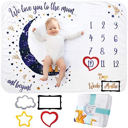 Mijlpaal Deken, Babydeken, Milestone Blanket | Voor Jongens en Meisjes, Unisex | Maandelijkse Fotoherinnering…