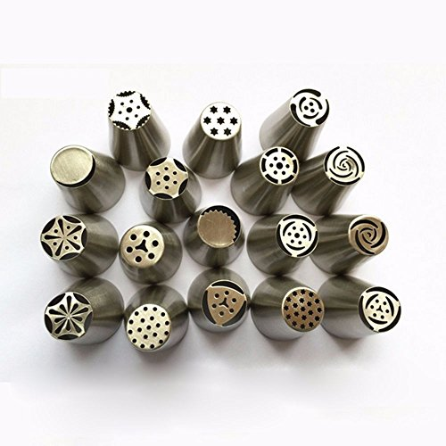 17Pcs Russian Tulip stainless steel Nozzles birthday Cake Cupcake Decorating Icing Piping Nozzles Rose Flower Cream Pastry (Cake Boss Halloween Costume)
