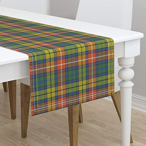 Table Runner - Buchanan Tartan Buchanan Ancient Tartan Warm Modern Colors Buchanan Buchanan by Weavingmajor - Cotton Sateen Table Runner 16 x 108