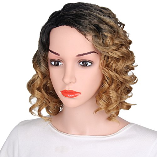 Black And Blonde Wig (AisiBeauty Ombre Curly Bob Wigs Side Part Short Wigs for Black Women Blonde Wig with Black Roots Heat Resistant Wig)