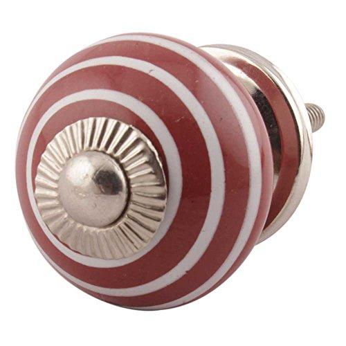 Indianshelf Handmade 12 Piece Ceramic Cherry Stripe Artistic Rust Free Drawer Knobs Traditional Cabinet Pulls