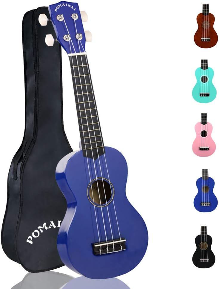 POMAIKAI Soprano Ukelele para Principiantes, Ukelele Hawaiano para Niños, Guitarra de 21 Pulgadas con Bolsa para Niños Estudiantes y Principiantes (azul escuro): Amazon.es: Instrumentos musicales