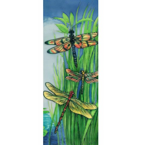 Ceramic Art - Continental Art Center KD-099 6 by 16-Inch Vertical Dragonflies Ceramic Art Tile