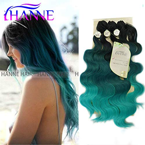 HANNE Ombre Color Hair Synthetic Body Wave Hair 182022 with Closure Heat Resistant Fiber Hair Colorful Synthetic Hair Extensions (Black&Green&Light Green)