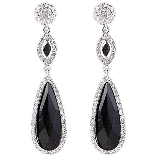 EVER FAITH Rhinestone Crystal Wedding Graceful Tear Drop Pierced Dangle Earrings Black Silver-Tone (Black Ring With Rhinestones)