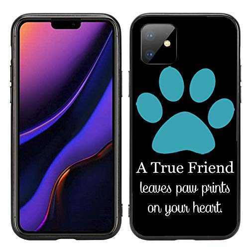 A True Friend Leaves Paw Prints On Your Heart Turquoise for iPhone 11 6.1 2019 Case Cover by Atomic Market