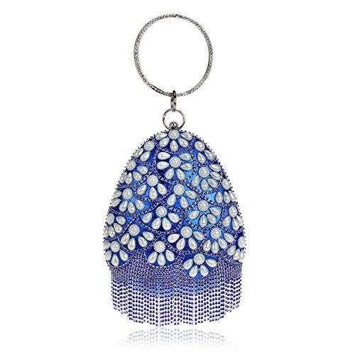 Pearl shaped Women Glitter Shoulder Wedding Bag Prom Gift Ladies Party For Tassel Clubs Evening Handbag Bridal Diamante Clutch Teardrop Purse Blue Bag rqzrwP0f