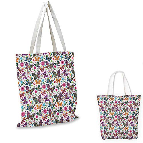 Butterfly non woven shopping bag Sixties and Seventies Inspired Complex Image with Floral Elements and Butterflies fruit shopping bag Multicolor. 16