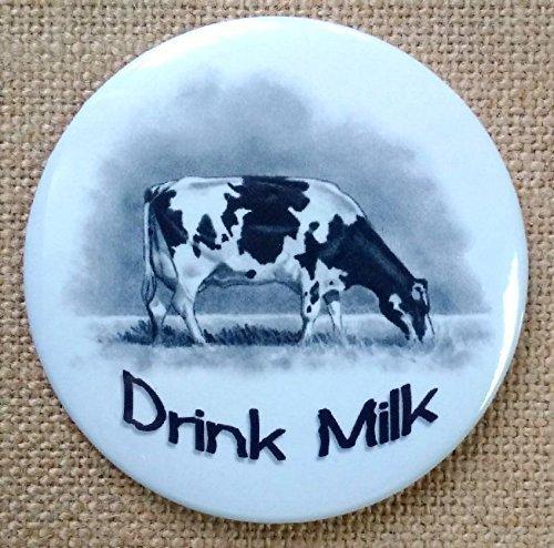 "Fridge Magnet, 3.5"", Cow, Drink Milk, Holstein Dairy Cow, Pencil Drawing, Farm Animal, Kitchen Decor"