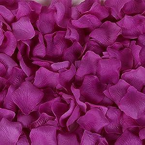 Colorfulife Simulation Rose Petals, 1200pcs Artificial Silk Rose Petal Flower Bridal for Wedding Party Valentine Supplies Room Decoration Centerpieces Confetti (5# Purple Red) 1