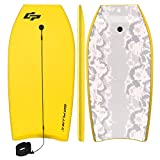Goplus 41 inch Super Bodyboard Body Board EPS Core, IXPE Deck, HDPE Slick Bottom with Leash, Light Weight Perfect Surfing for Kids and Adults (Yellow)