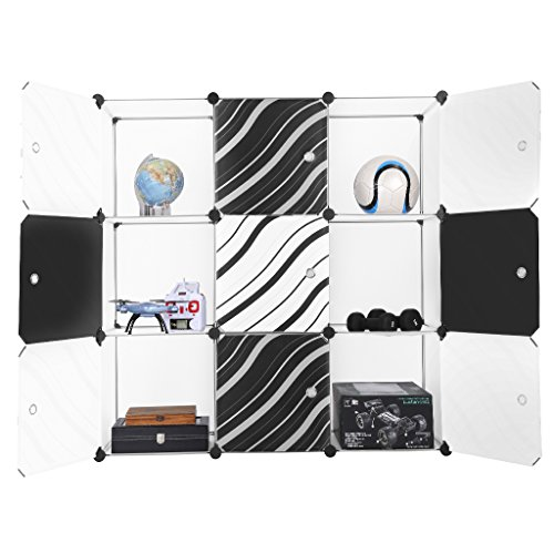 LANGRIA 9-Cube DIY Modular Shelving Storage Organizing Closet with Translucent Zebra Striped Doors Design for Clothes, Shoes, Toys (White and Black)