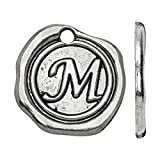 Beadaholique Lead-Free Pewter, Alphabet Charm Wax Seal Letter 'M' 18.5x19.5mm, 1 Piece, Antiqued Silver