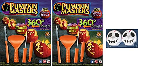 Pumpkin Masters Pumpkin 360 Degree Carving Kit Set of 2 & Monster Shaped Tea Lights (Spooky Halloween Pumpkin Carving Patterns)