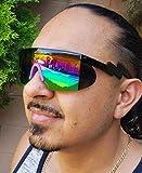 Semi Rimless Goggle Style Retro Rainbow Mirrored