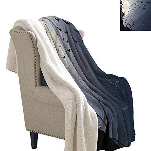 Beihai1Sun Halloween Cozy Flannel Blanket Witch in Twilight on High Lightweight Thermal Blankets 60x78 -