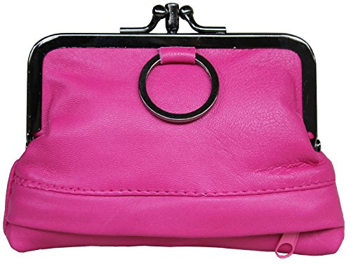 Lambskin Red Handbag (Visnow Triple Metal Fram Genuine Soft Leather Small Clutch Purse Wallet (Rose Red))