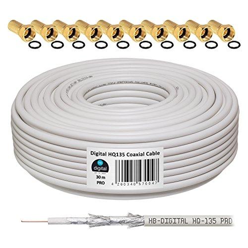 130dB 30m Koaxial SAT Kabel HQ-135 PRO 4-fach geschirmt für DVB-S / S2 DVB-C und DVB-T BK Anlagen + 10 vergoldete F-Stecker SET Gratis dazu
