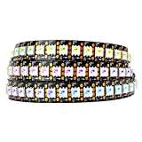 BTF-LIGHTING WS2813 (Upgraded WS2812B) 3.3ft 144Leds Individually Addressable RGB LED Flexible Strip Light Dual Signal Wires 5050 SMD IP30 Non-Waterproof DC5V Black PCB