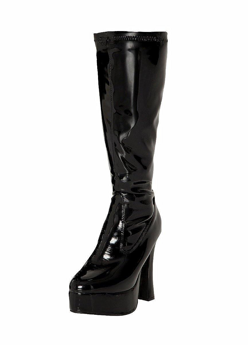 6c728d57ba9 Black Patent Platform Knee High Fancy Dress Boots - Size 4 UK   Amazon.co.uk  Shoes   Bags