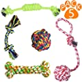 Hhusali Dog Toys 5 Pack Gift Set, Ball Rope and Chew Toys for Medium to Small Doggie by Hhusali
