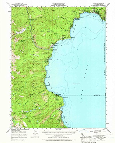 YellowMaps Tahoe CA topo map, 1:62500 Scale, 15 X 15 Minute, Historical, 1955, Updated 1966, 20.7 x 16.6 in - Polypropylene