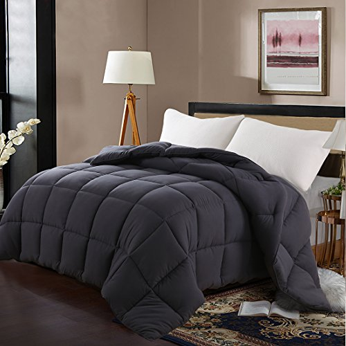 Edilly Luxury Down Alternative Quilted Queen Comforter-Stand Alone Comforter for Queen Size Bed,Year Round Duvet Insert with 4 Corner Tabs,88''x 88''Darkgrey (Microfiber Gsm 90 Is What)